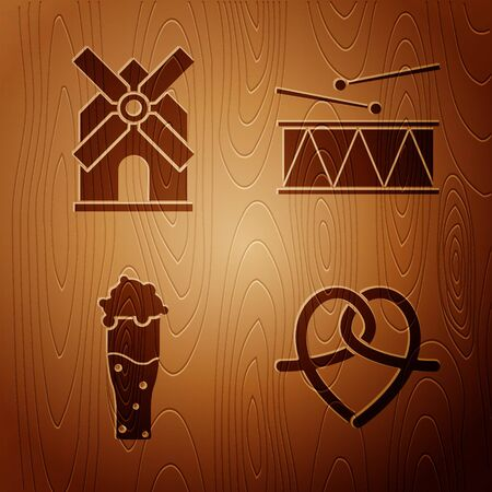 Set Pretzel, Windmill, Glass of beer and Musical instrument drum and drum sticks on wooden background. Vector