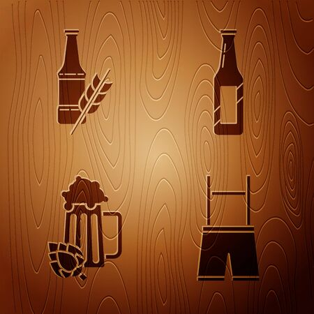 Set Lederhosen, Beer bottle, Glass of beer and hop and Beer bottle on wooden background. Vector