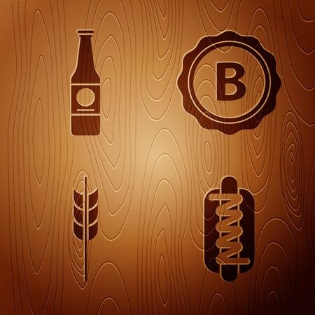 Set Hotdog sandwich with mustard, Beer bottle, Cereals set with rice, wheat, corn, oats, rye, barley and Bottle cap with inscription beer on wooden background. Vector Vettoriali