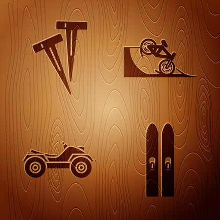 Set Ski and sticks, Pegs for tents, All Terrain Vehicle or ATV motorcycle and Bicycle on street ramp on wooden background. Vector