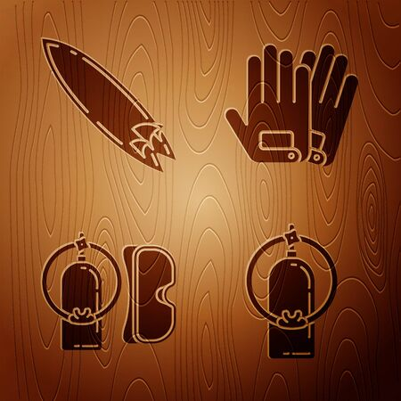 Set Aqualung, Surfboard, Diving mask and aqualung and Gloves on wooden background. Vector