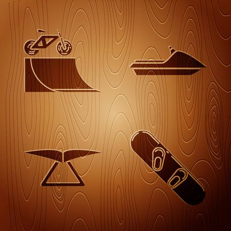 Set Snowboard, Bicycle on street ramp, Hang glider and Jet ski on wooden background. Vector 일러스트