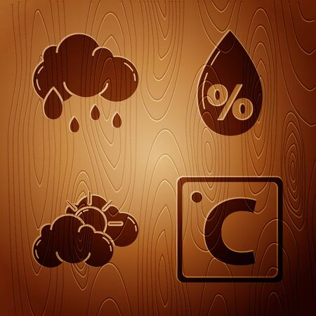 Set Celsius, Cloud with rain, Sun and cloud weather and Water drop percentage on wooden background. Vector 向量圖像