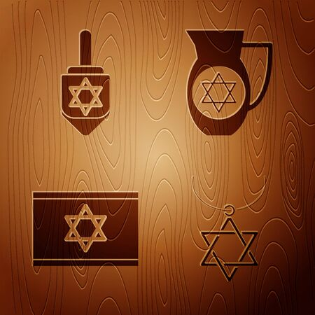 Set Star of David necklace on chain, Hanukkah dreidel, Flag of Israel and Decanter with star of david on wooden background. Vector