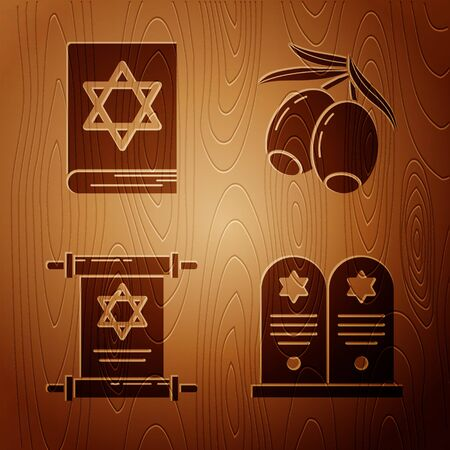 Set Tombstone with star of david, Jewish torah book, Torah scroll and Olives branch on wooden background. Vector