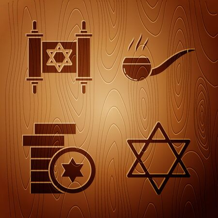 Set Star of David, Torah scroll, Jewish coin and Smoking pipe with smoke on wooden background. Vector
