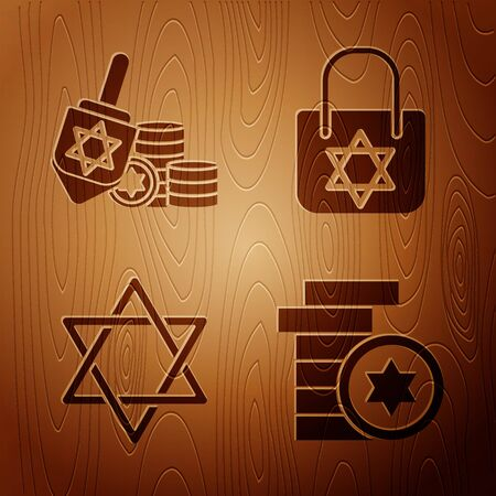 Set Jewish coin, Hanukkah dreidel and coin, Star of David and Shopping bag with star of david on wooden background. Vector
