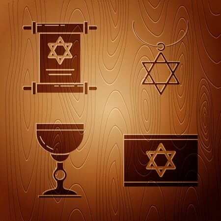 Set Flag of Israel, Torah scroll, Jewish goblet and Star of David necklace on chain on wooden background. Vector