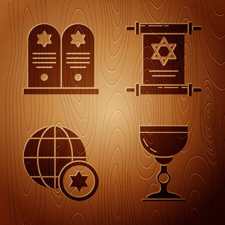 Set Jewish goblet, Tombstone with star of david, World Globe and Israel and Torah scroll on wooden background. Vector Vektorové ilustrace