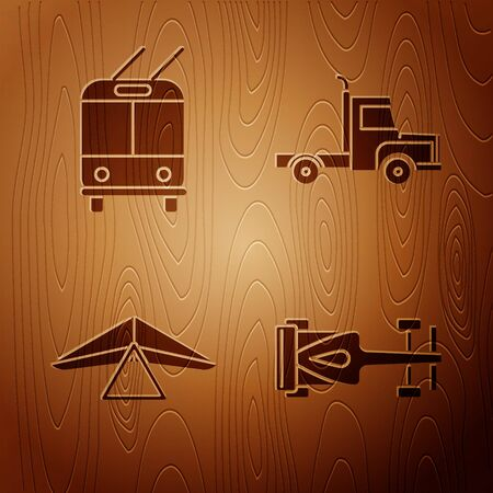Set Formula race car, Trolleybus, Hang glider and Delivery cargo truck vehicle on wooden background. Vector