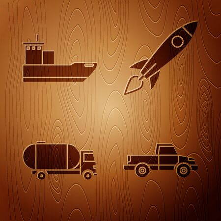 Set Pickup truck, Cargo ship, Tanker truck and Rocket ship with fire on wooden background. Vector