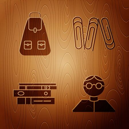 Set Student, School backpack, Office folders with papers and documents and Paper clip on wooden background. Vector