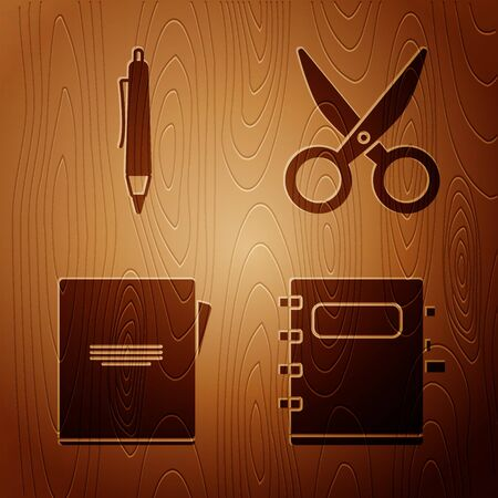 Set Notebook, Pen, Notebook and Scissors on wooden background. Vector