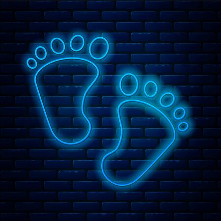 Glowing neon line Baby footprints icon isolated on brick wall background. Baby feet sign. Vector Illustration