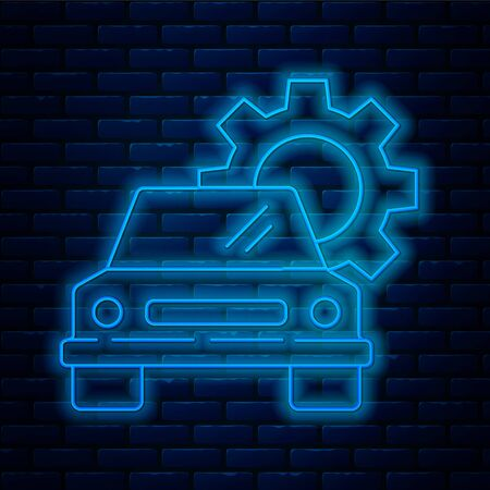 Glowing neon line Car service icon isolated on brick wall background. Auto mechanic service. Repair service auto mechanic. Maintenance sign. Vector Illustration