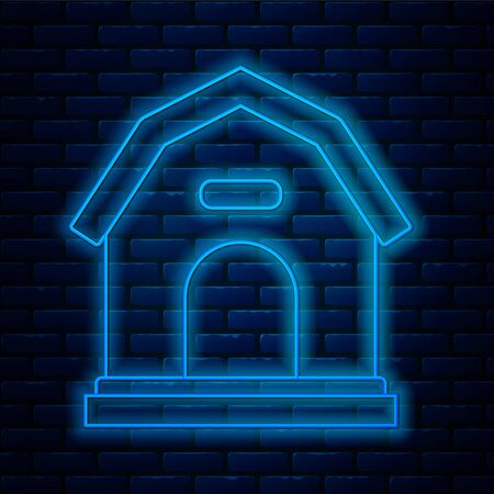Glowing neon line Dog house icon isolated on brick wall background. Dog kennel. Vector Illustration Illustration