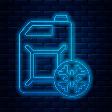 Glowing neon line Antifreeze canister icon isolated on brick wall background. Auto service. Car repair. Vector Illustration Vector Illustration