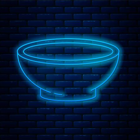 Glowing neon line Bowl of hot soup icon isolated on brick wall background. Vector Illustration