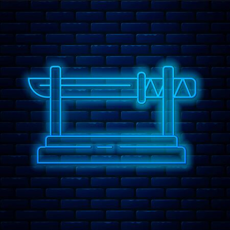 Glowing neon line Traditional Japanese katana on a wooden stand icon isolated on brick wall background. Japanese sword. Vector Illustration Illustration