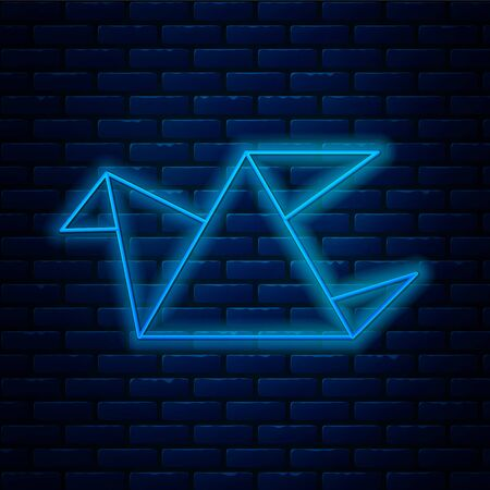 Glowing neon line Origami bird icon isolated on brick wall background. Vector Illustration
