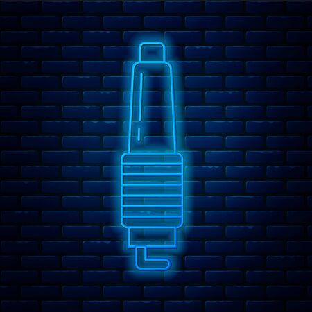 Glowing neon line Car spark plug icon isolated on brick wall background. Car electric candle. Vector Illustration Illustration