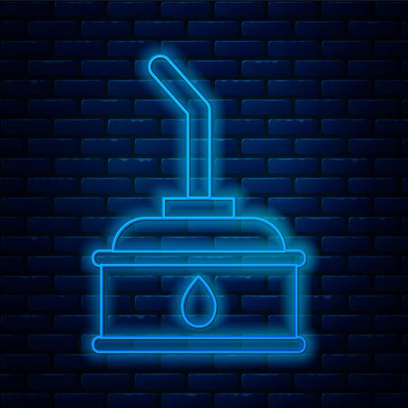Glowing neon line Canister for motor machine oil icon isolated on brick wall background. Oil gallon. Oil change service and repair. Vector Illustration Vectores