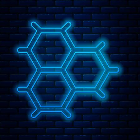 Glowing neon line Chemical formula consisting of benzene rings icon isolated on brick wall background. Vector Illustration  イラスト・ベクター素材