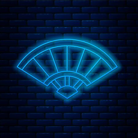 Glowing neon line Traditional paper chinese or japanese folding fan icon isolated on brick wall background. Vector Illustration