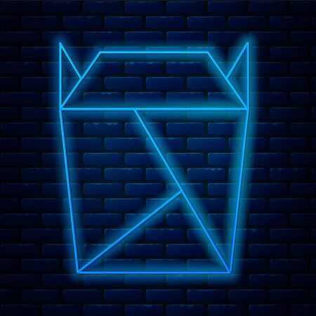 Glowing neon line Chinese restaurant opened take out box filled icon isolated on brick wall background. Take away food. Vector Illustration Ilustrace