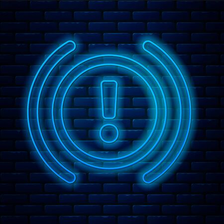 Glowing neon line Brake system warning icon isolated on brick wall background. Exclamation mark in the car. Dashboard attention sign. Vector Illustration