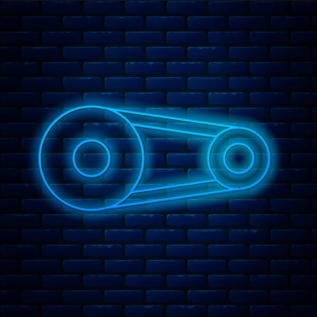 Glowing neon line Timing belt kit icon isolated on brick wall background. Vector Illustration