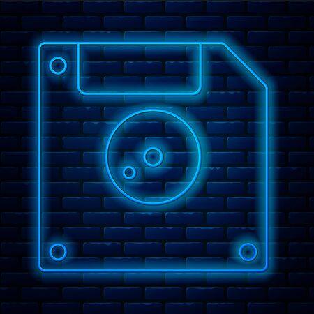 Glühende Neonlinie Diskette für Computer-Datenspeichersymbol isoliert auf Backsteinmauerhintergrund. Diskettenzeichen. Vektorillustration