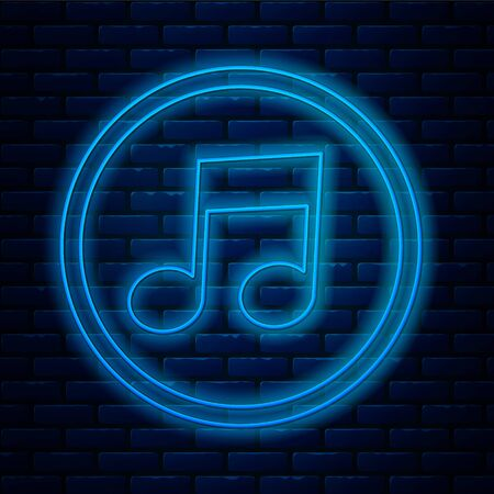 Glowing neon line Music note, tone icon isolated on brick wall background. Vector Illustration Vectores