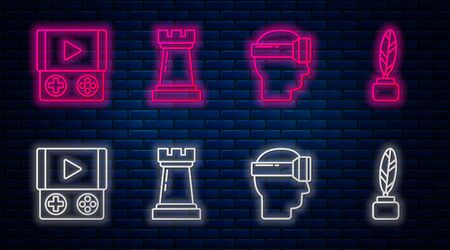Set line Chess symbol, Virtual reality glasses, Portable video game console and Feather and inkwell. Glowing neon icon on brick wall. Vector Illustration
