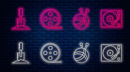 Set line Film reel, Yarn ball with knitting needles, Shovel in the ground and Vinyl player with a vinyl disk. Glowing neon icon on brick wall. Vector Illustration