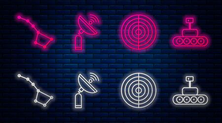 Set line Radar, Earth structure, Great Bear constellation and Mars rover. Glowing neon icon on brick wall. Vector Illustration