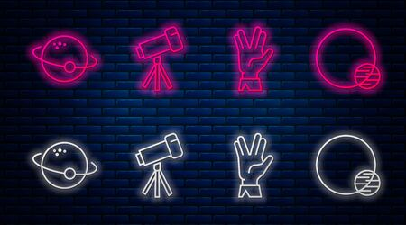 Set line Telescope, Vulcan salute, Planet and Planet. Glowing neon icon on brick wall. Vector