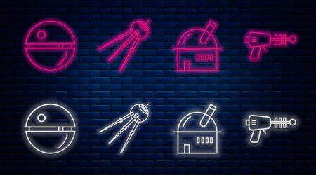 Set line Satellite, Astronomical observatory, Death star and Ray gun. Glowing neon icon on brick wall. Vector 일러스트