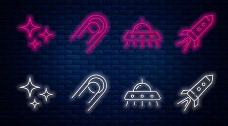 Set line Satellite, UFO flying spaceship, Falling star and Rocket ship with fire. Glowing neon icon on brick wall. Vector Vettoriali