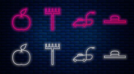 Set line Garden rake, Lawn mower, Apple and Worker hat. Glowing neon icon on brick wall. Vector