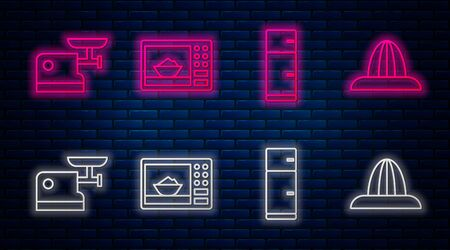 Set line Microwave oven, Refrigerator, Kitchen meat grinder and Citrus fruit juicer. Glowing neon icon on brick wall. Vector
