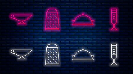 Set line Grater, Covered with a tray of food, Sauce boat and Blender. Glowing neon icon on brick wall. Vector