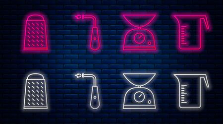 Set line Long electric lighter, Scales, Grater and Measuring cup. Glowing neon icon on brick wall. Vector