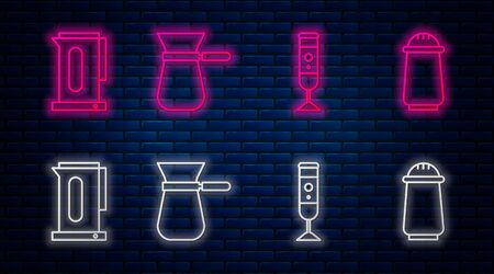 Set line Coffee turk, Blender, Kettle with handle and Salt and pepper. Glowing neon icon on brick wall. Vector