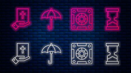 Set line Umbrella, Safe, Oath on the Holy Bible and Old hourglass. Glowing neon icon on brick wall. Vector