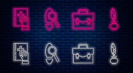 Set line Magnifying glass with footsteps, Briefcase, Oath on the Holy Bible and Feather and inkwell. Glowing neon icon on brick wall. Vector
