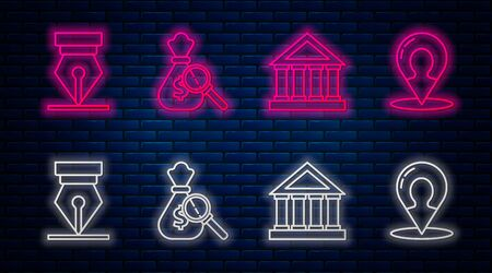 Set line Money bag and magnifying glass, Courthouse building, Fountain pen nib and Map marker with a silhouette of a person. Glowing neon icon on brick wall. Vector