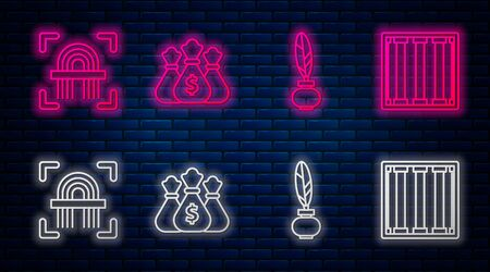 Set line Money bag, Feather and inkwell, Fingerprint and Prison window. Glowing neon icon on brick wall. Vector