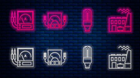 Set line Ampere meter, multimeter, voltmeter, LED light bulb, Ampere meter, multimeter, voltmeter and Coal power plant and factory. Glowing neon icon on brick wall. Vector