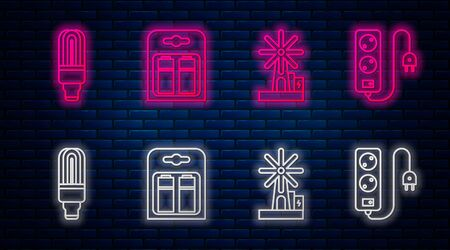 Set line Battery in pack, Wind turbine, LED light bulb and Electric extension cord. Glowing neon icon on brick wall. Vector